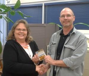 Michelle Scott receives her $100 gift card!